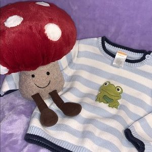 GYMBOREE BLUE & WHITE FROG SWEATER